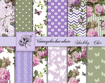 Lilac Digital Floral Paper, Lavender and Mint Green Scrapbook Paper, Shabby Floral Rose Paper, Digital Photo Backdrop. No. P85.VA
