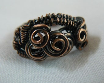 Copper ring size 8 wire wrapped  FREE SHIPPING