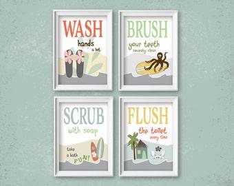 "Childrens Kids Surf Beach Coastal Theme Bathroom Art Prints Set of (4) 4"" x 6"", 5"" x 7"" or 8"" x 10"" // Kids Bathroom Art Decor- UNFRAMED"