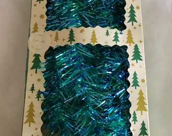 Vintage Blue/Green Christmas Garland in Original Box - Made in West Germany