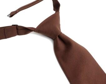 Brown Neck Tie With Adjustable Strap