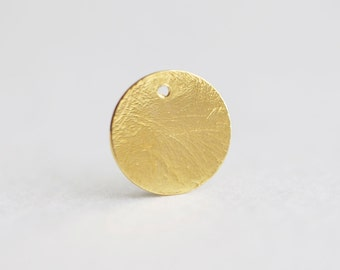 Brushed Vermeil Gold Full Moon Charm - 15mm textured gold disc round circle, 18k yellow gold over 925 sterling silver