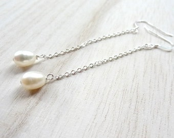 Simple Silver White Freshwater Pearl handmade dangle drop Earrings Jewelry