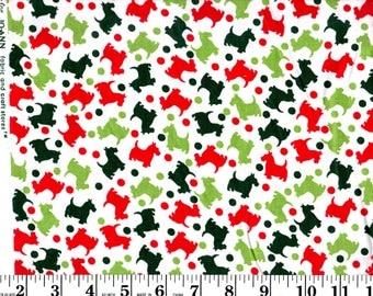 1 yard, Red and Green Scotty Dogs on White