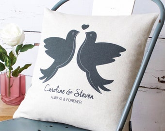 Personalised Love Doves Pillow Cover