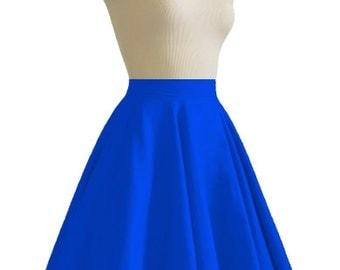 JULIETTE Royal Blue Rockabilly Swing Rock 'n Roll Skirt//Full Circle Black Skirt//Retro Mod 50s style Skirt//Party Skirt XXS-3X