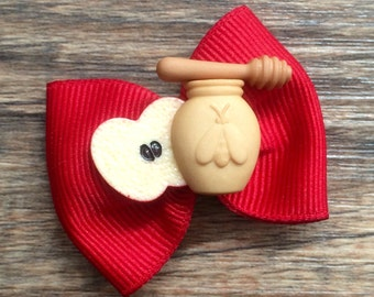 Jewish New Year Hair Bow-Jewish Baby Bow-Jewish Dog Bow-Rosh Hashanah Baby Bow-Rosh Hashanah Dog Bow-Apples and Honey-Apples and  Honey Bow