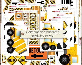 Construction Birthday Printable Party Decorations INSTANT DOWNLOAD
