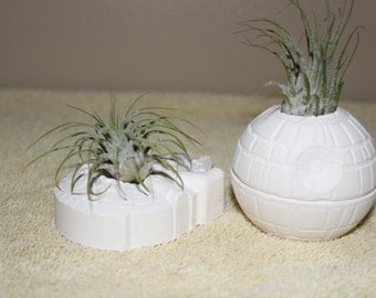 Star Wars Death Star and Millennium Falcon  planter, air plant holder, Star Wars wedding favors, desk planter, gift,FREE GIFT W/PURCHASE