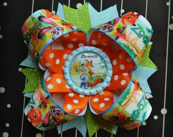 Zootopia  inspired stacked layered hair bow
