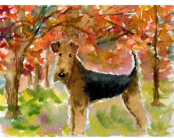 Airedale Terrier Dog in Autumn  Art Print #176