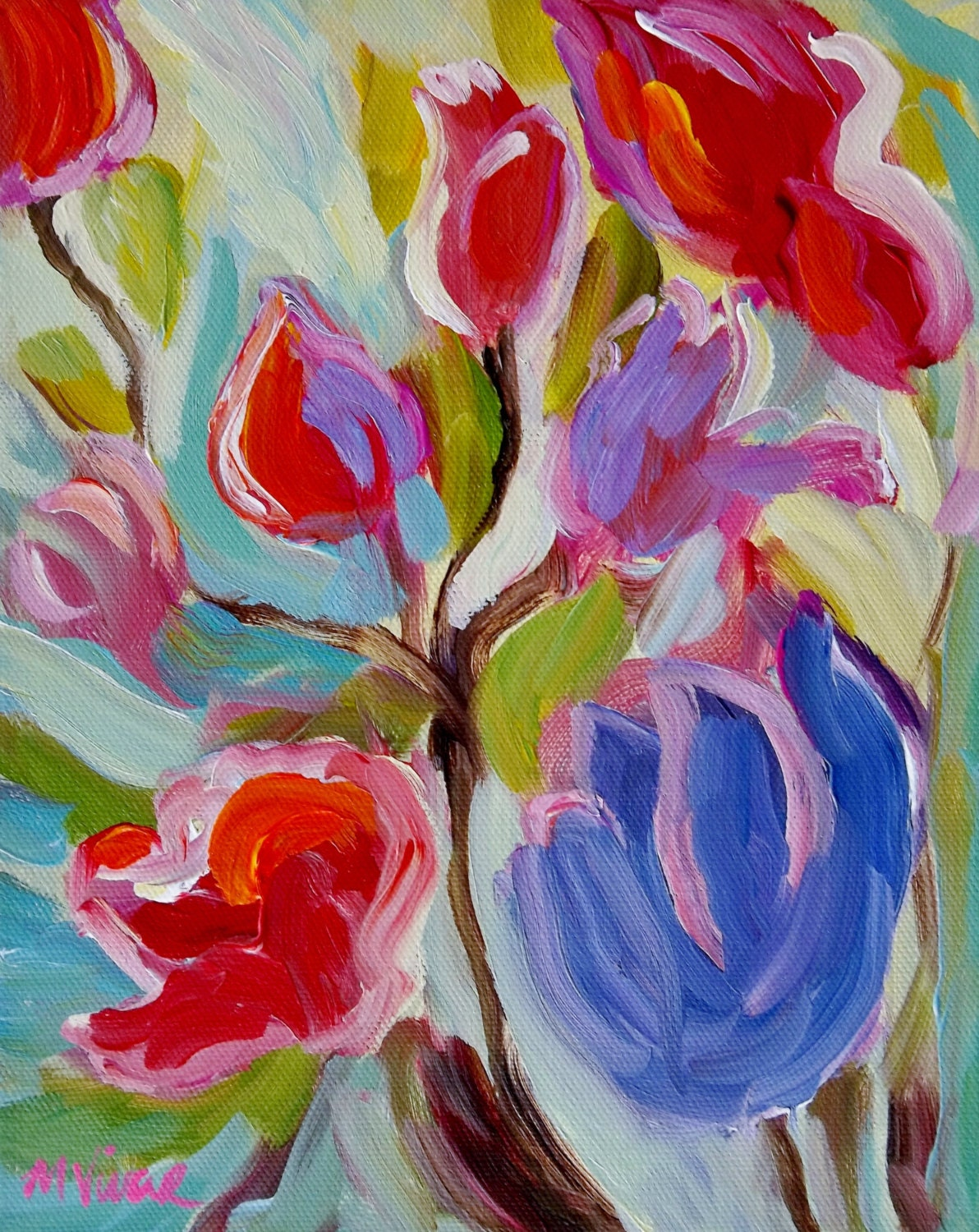 Abstract flower painting acrylic the for Floral acrylic paintings