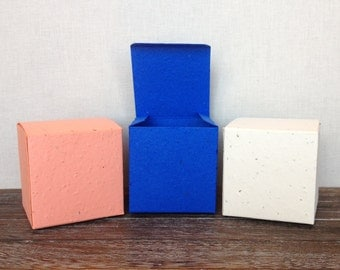 """Plantable Paper Seeded Favor Boxes - 2 3/8"""" x 2 3/8"""" Cube Box - DIY, 39 Colors Available"""