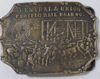 Vintage Central & Union Pacific Railroad Co. Belt Buckle, Railroad Cattle Scene