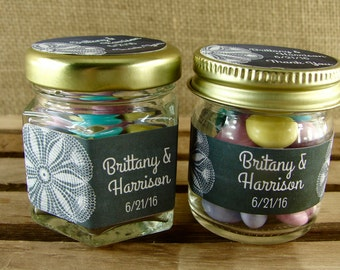 Personalized Mini Favor Jars - 2 Jar Styles- Your Choice - Chalkboard and Lace Design - Mini Mason Jar or Hex Favor Jar