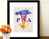 "Watercolor Physician Assistant - Caduceus, 8.5"" x 11"" print, Medical print, Nurse graduation gift, Physician Assistant certification gift"