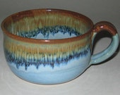 Pottery Soup Mug, Sand 'n' Sea, Microwave and Dishwasher Safe, Lead Free Glaze, Wheel Thrown