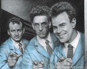 "Peter, Egon & Ray ""Ready To Believe You"" Ghostbusters Drawing Print"