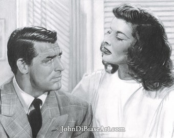 Drawing Print of Cary Grant and Katharine Hepburn in The Philadelphia Story