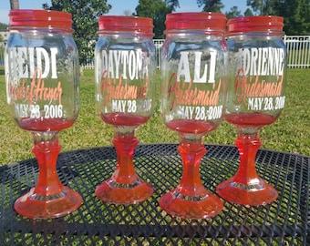 Monogramed Mason Jar Wine  Glasses Ball Mason Jar Margarita or Sangria Glass CHOOSE Your Colors - 16oz Ball Mason Jars - Wedding Party