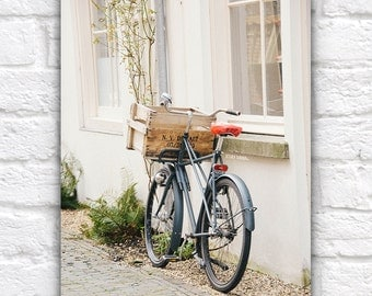 Bicycle Photography Art Print, Charming Art, Bike Parked in Holland, Europe - Bike Basket, Light Colors, White, Bright, Ivory, Cream, Creamy