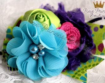 x { Skip to my Lou } Headband, Couture Headband, Photography Prop, Baby Headband, Rainbow Headband, Colorful Headband, Hair Clip, Blue Green