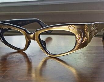 Vintage Gold Rhinestone Cat Eyeglasses Harlequin 44/20 Swank Frame France NOS