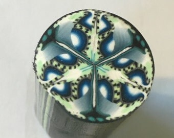Blue, mint green complex polymer clay cane, clay supply, clay canes