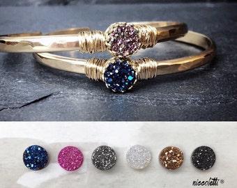 Druzy Cuff Bracelet / Silver or Gold Druzy Cuff / 14k Gold Filled Cuff / Gemstone Cuff Bracelet / Raw Quartz Bangle Cuff / Gift for Her
