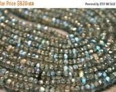 sale AA blue fire flash Labradorite gemstone rondelles- faceted labradorite rondelles- 6.5 inch- 3.2-3.6 mm No.812