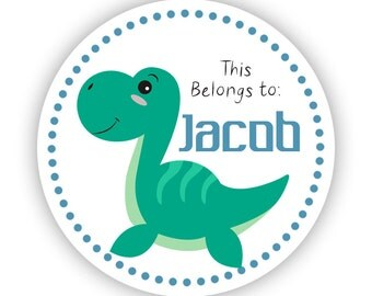 Name Tag Stickers - Blue, Green, Turquoise Dino Dinosaur Personalized Name Label Stickers - 2in Round Tags - Back to School Name Stickers
