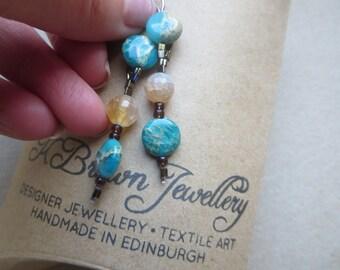Handmade Gemstone Earrings, Jasper Gemstone Earrings, Dangly Gemstone Earrings, Blue Jasper Agate Earrings, Turquoise Dangle Earrings, U.K.