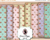 75% OFF SALE Digital Collage Sheet SHABBY Roses Polka Dots Set of 8 Shabby chic background Digital paper printable download