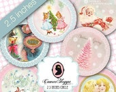 75% OFF SALE Digital Sheet HAPPY Christmas Digital Collage Sheet Digital Collage circle 2.5 inches Digital Tags Instant download
