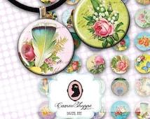 75% OFF SALE Digital Collage Sheet Circle SHABBY Spring 1 Inch Bottlecaps Pendants Magnets Digital download