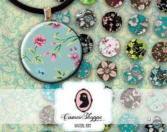 75% OFF SALE Digital collage Sheet circle FLOWER Delight 1 Inch pendants magnets digital scrapbooking
