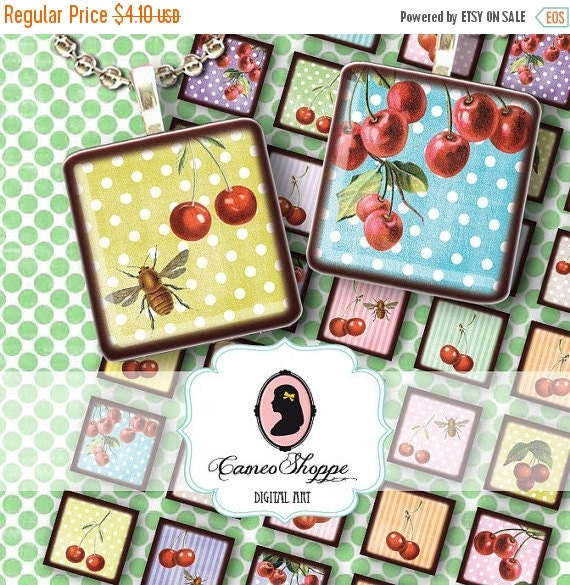 75% OFF SALE CHERRIES And Bees - 1x1 inch Digital Collage Sheet Printable pendants magnets glass tile scrapbooking shabby chic