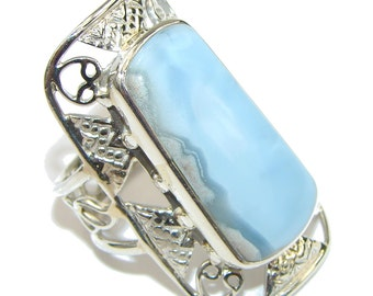 Agate Sterling Silver Ring - weight 9.90g - Size 10 1 2 - dim L -1 5 8, W -1, t -1 4 inch - code 27-paz-15-61