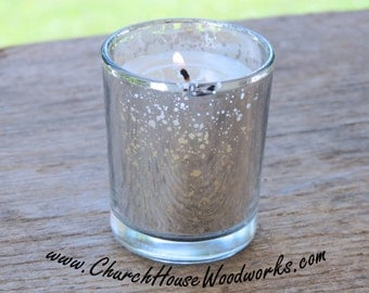 12 Silver Mercury Glass Votive Holders - Candle Holders for Weddings - Glass Votive Candle Holders - Wedding Decorations
