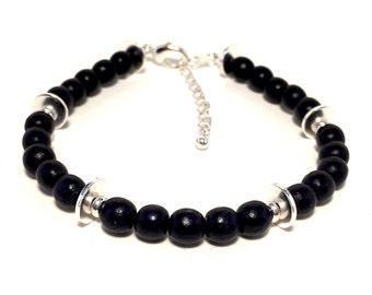 Black Wood Bracelet, Wooden Bracelet, Wood Beads, Silver Bracelet, Silver Jewelry, Women's Bracelets