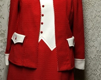 60's Vintage Red and White Knit A-line Dress Suit from Nardis of Dallas