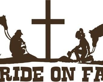 Praying Cowboy Cowgirl Cross Horse Christ Car Truck Window Vinyl Decal Sticker