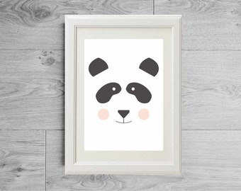 Illustration print panda bear face - Kid's room wall art - Nursery art - Art print - Children baby furniture - printed on matte paper