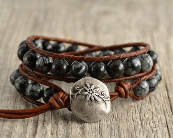 Beaded bracelet. Snowflake obsidian bead jewelry. Bohemian chic rustic wrap bracelet