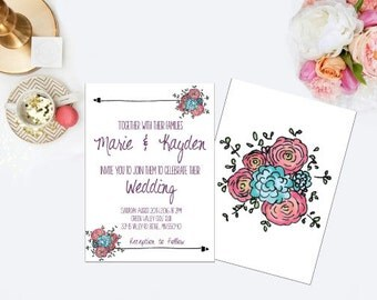 Floral Wedding Invitation, RSVP Card, & Thank You Card!