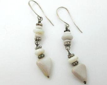 Australian Cream Opal Dangle Earrings