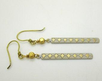Contemporary White Brass Dangle Earrings