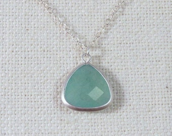 Amazonite Necklace, Light Blue Sterling Silver Minimalist Jewelry, Simple Glass Necklace