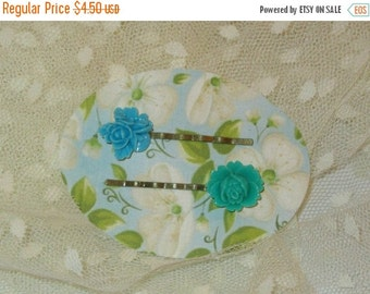50% OFF SALE Set of 2 Bobby Pins, Teal and Tuquoise Resin Roses