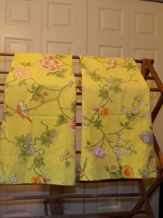 Sweet King Size Yellow Floral Bird Pillowcases Shabby Chic